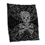 Celtic Skull and Crossbones Burlap Throw Pillow