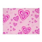 Celtic Pink Hearts 5'x7'Area Rug