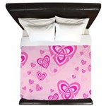 Celtic Pink Hearts King Duvet