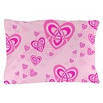 Celtic Pink Hearts Pillow Case