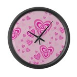 Celtic Pink Hearts Large Wall Clock