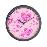 Celtic Pink Hearts Wall Clock