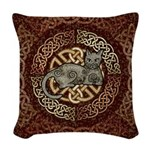 Celtic Cat Woven Throw Pillow