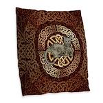 Celtic Cat Burlap Throw Pillow