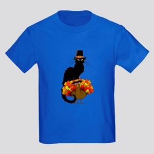 Thanksgiving Le Chat Noir With Turkey Pilg T-Shirt