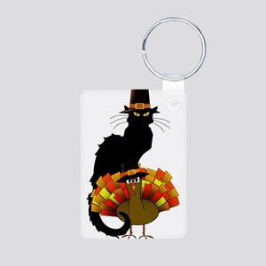 Thanksgiving Le Chat Noir With Turkey Pi Keychains