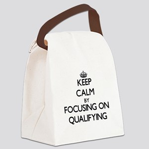 Keep Calm by focusing on Qualifyi Canvas Lunch Bag