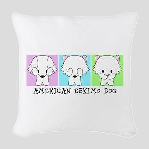 American Eskimo Dog Eskie Woven Throw Pillow