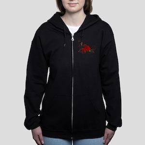 red roses Women's Zip Hoodie