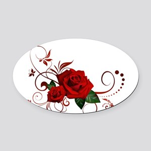 red roses Oval Car Magnet
