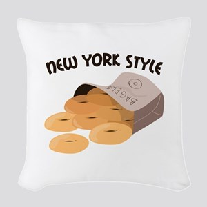 New York Style Woven Throw Pillow