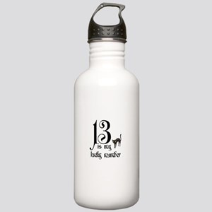 13 is my lucky number+cat Water Bottle