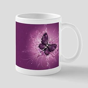 purple butterfly Mugs