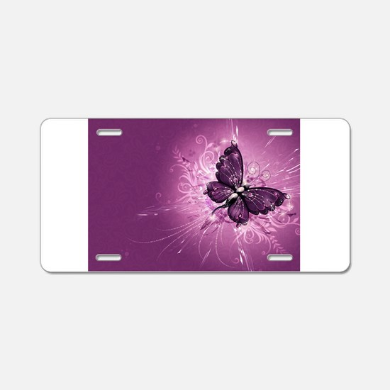purple butterfly Aluminum License Plate