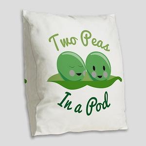 In A Pod Burlap Throw Pillow