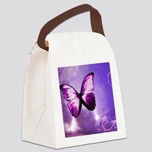 purple butterfly Canvas Lunch Bag