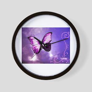 purple butterfly Wall Clock