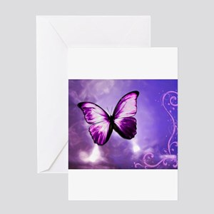 purple butterfly Greeting Cards