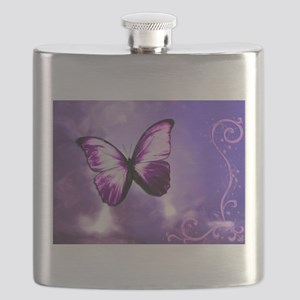 purple butterfly Flask