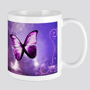 purple butterfly Mugs