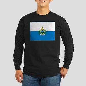 San Marino Flag Long Sleeve Dark T-Shirt