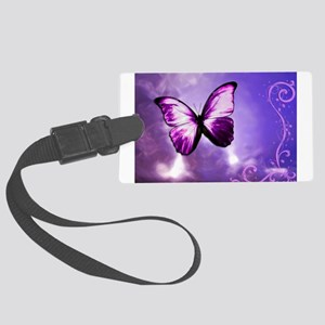purple butterfly Large Luggage Tag