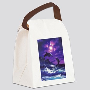 dolphins jumping Canvas Lunch Bag