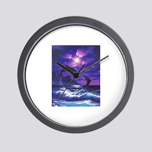 dolphins jumping Wall Clock