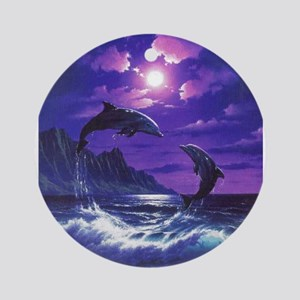 dolphins jumping Ornament (Round)