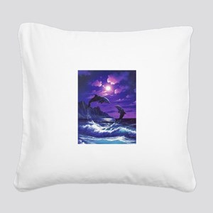 dolphins jumping Square Canvas Pillow