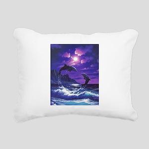 dolphins jumping Rectangular Canvas Pillow