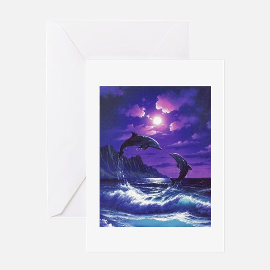 dolphins jumping Greeting Cards
