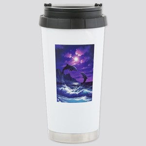 dolphins jumping Stainless Steel Travel Mug