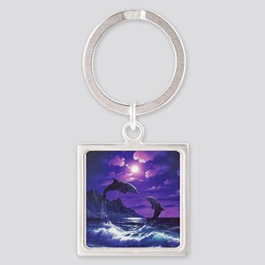 dolphins jumping Keychains
