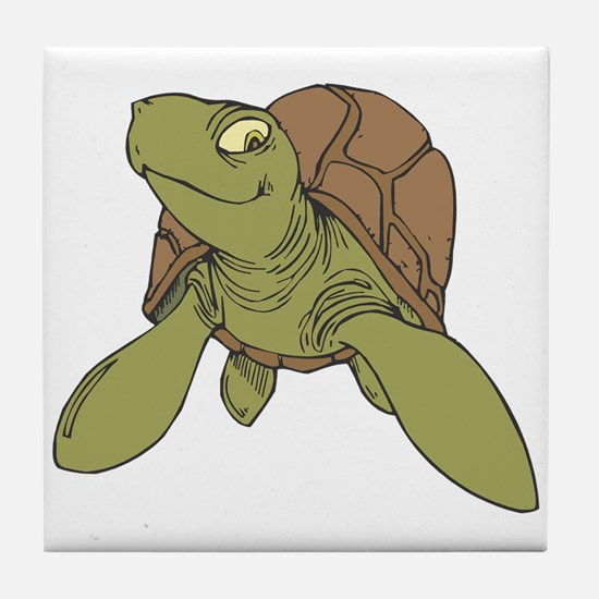 Grinning Sea Turtle Tile Coaster