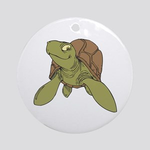 Grinning Sea Turtle Ornament (Round)