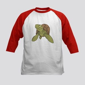 Grinning Sea Turtle Kids Baseball Jersey