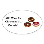 Christmas Donuts Sticker (Oval 50 pk)