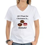 Christmas Donuts Women's V-Neck T-Shirt