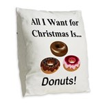 Christmas Donuts Burlap Throw Pillow