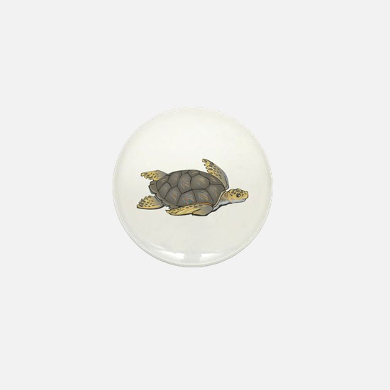 Brown Swimming Sea Turtle Mini Button