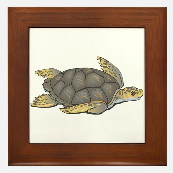 Brown Swimming Sea Turtle Framed Tile