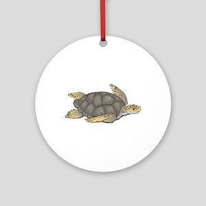 Brown Swimming Sea Turtle Ornament (Round)