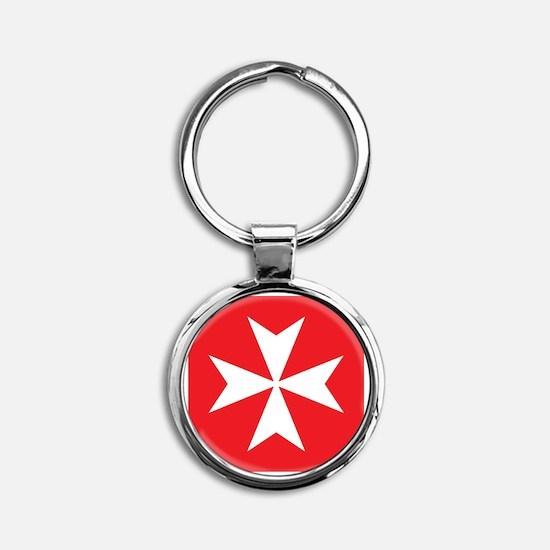 White Maltese Cross Keychains