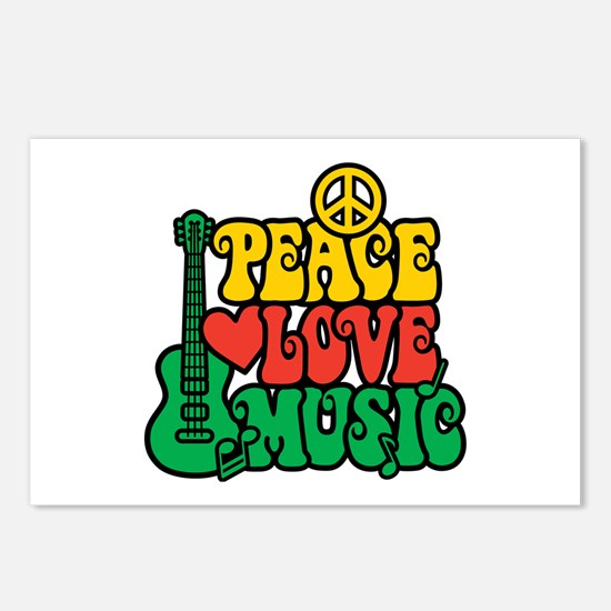 Reggae Peace Love Music Postcards (Package of 8)