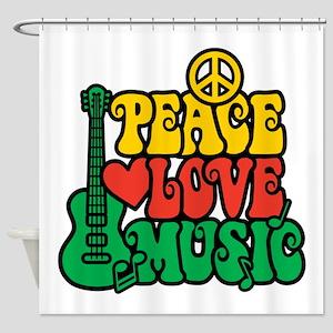 Reggae Peace Love Music Shower Curtain