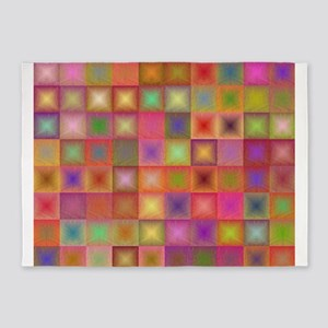 Colorful textured squares 5'x7'Area Rug