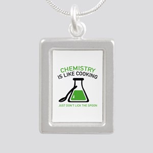 Chemistry Is Like Cooking Silver Portrait Necklace