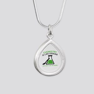 Chemistry Is Like Cooking Silver Teardrop Necklace