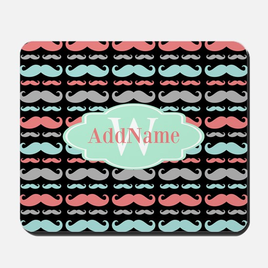 Monogram Funny Mustaches Pattern Mousepad
